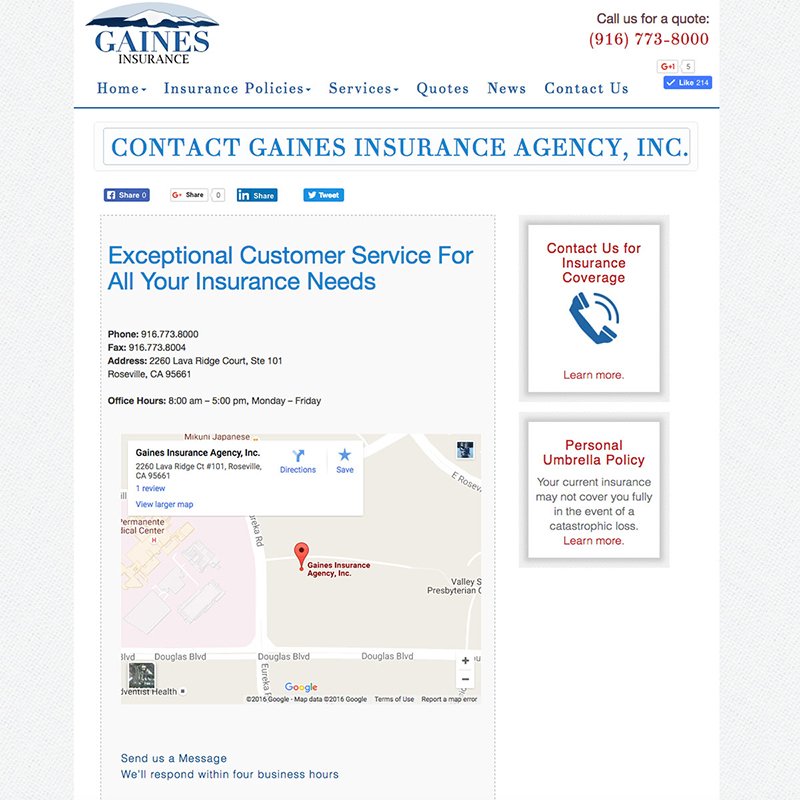 Gaines Insurance Website Design Screenshot 3