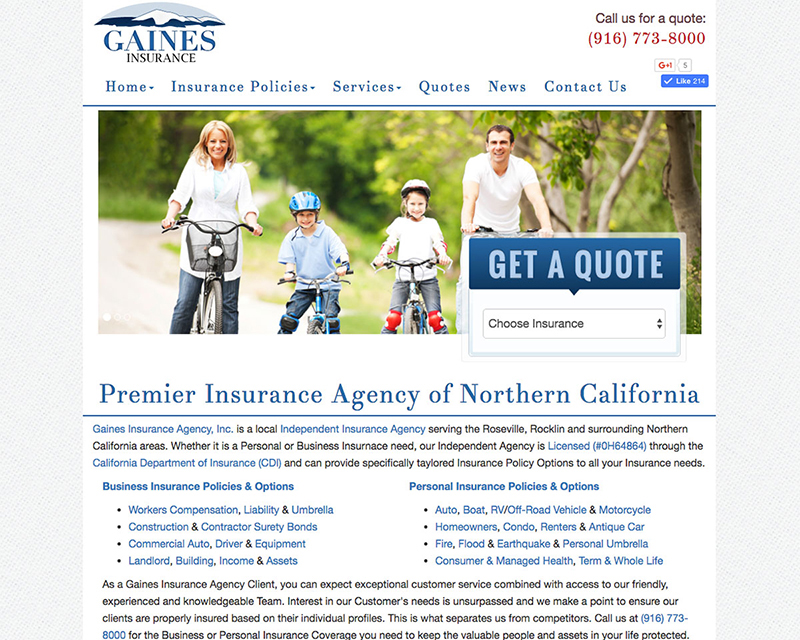 After Screenshot of Gaines Insurance website redesign