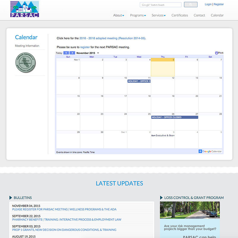 The Public Agency Risk Sharing Authority of California - PARSAC Website Design Screenshot 3