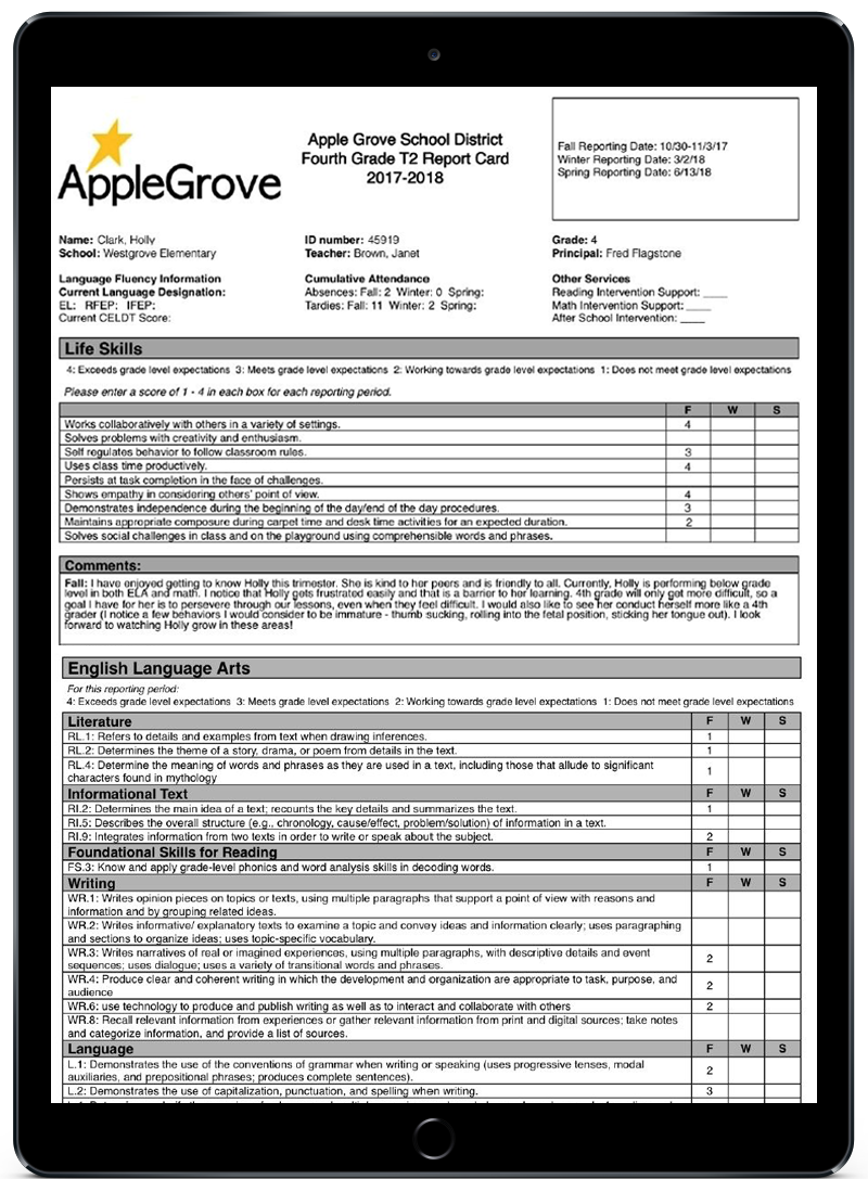 A single iPad displaying a PowerSchool Training Report Card