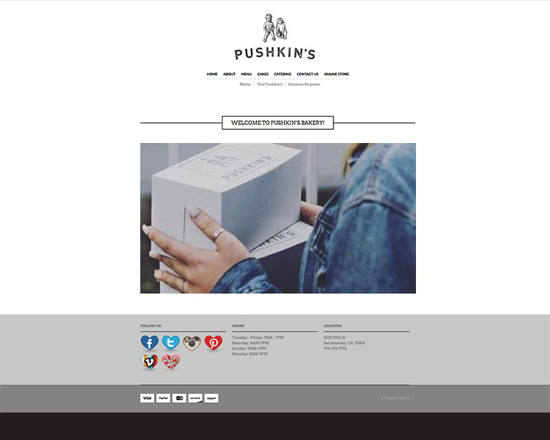 Before Screenshot of Pushkin's Bakery website