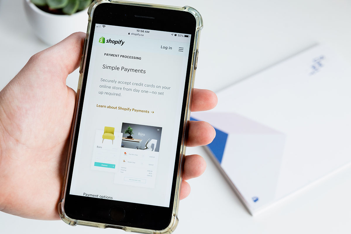 Shopify Website on a mobile phone