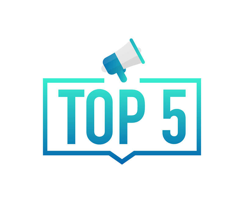 A label announcing top five with a bullhorn highlights the most common ADA compliance mistakes made by website developers.